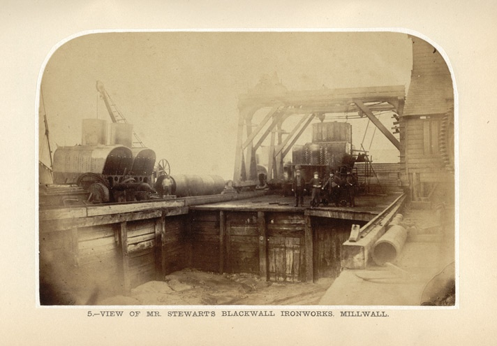"Photographic view of Mr. Stewart's Blackwall Ironworks, Millwall from ""Dockyard Economy and Naval Power"" by Patrick Barry, 1863"