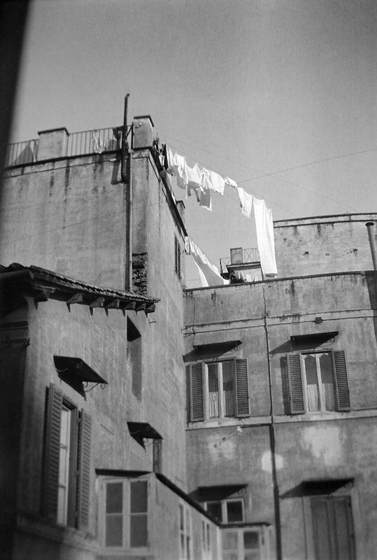 Clothes lines on roofs in Rome, Italy